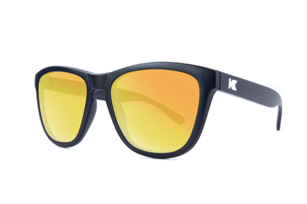 Knockaround - Premiums Black Sunglasses, Polarized Sunset Lenses