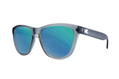 Knockaround - Premiums Frost Grey Sunglasses, Polarized Green Moonshine Lenses