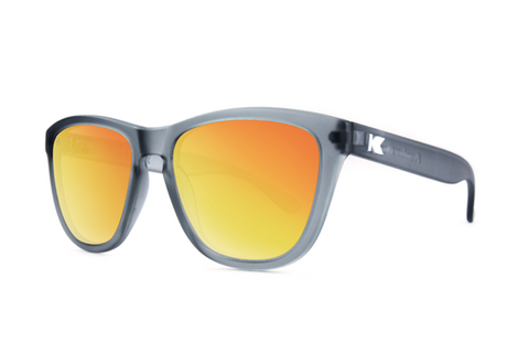 Knockaround - Premiums Frost Grey Sunglasses, Polarized Red Sunset Lenses