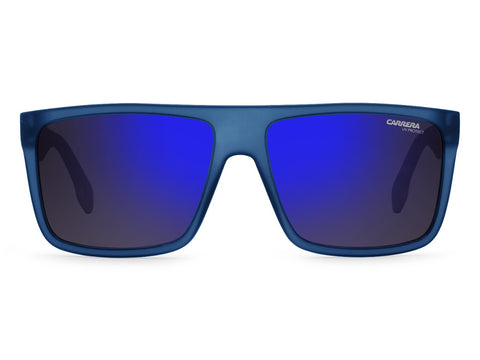 Carrera - 5039 Matte Blue White Sunglasses / Blue Sky Mirror Lenses