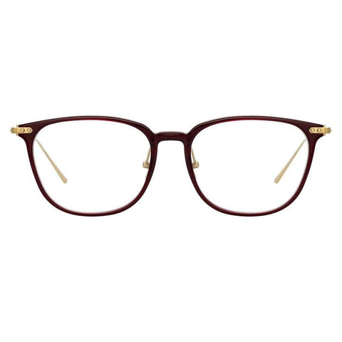 Linda Farrow Linear - Wright 53mm Burgundy Light Gold Eyeglasses / Demo Lenses