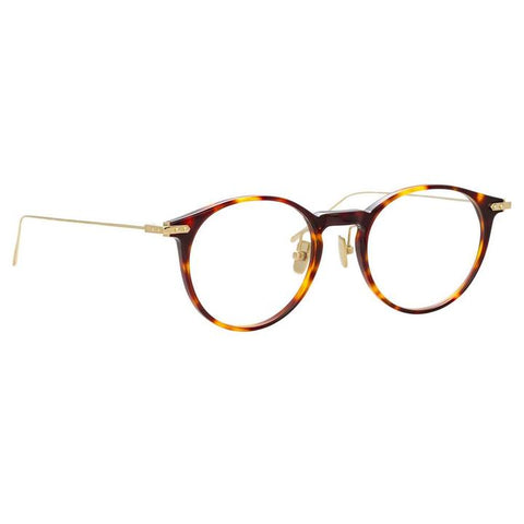 Linda Farrow Linear - Chevron 50mm T-Shell Luna Gold Eyeglasses / Demo Lenses