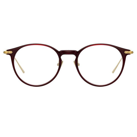 Linda Farrow Linear - Chevron 50mm Burgundy Light Gold Eyeglasses / Demo Lenses