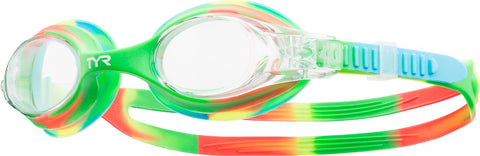 TYR - Swimples Green Orange Tie Dye Swim Goggles / Clear Lenses