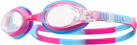TYR - Swimples Pink + Blue Tie Dye Swim Goggles / Clear Lenses