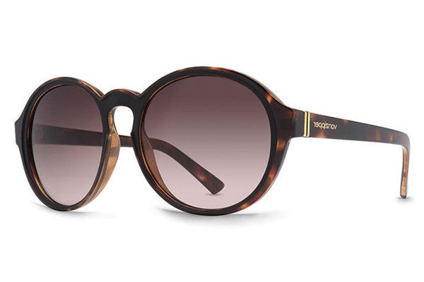 VonZipper - Lula Tort Black Satin TBT Sunglasses, Brown Gradient Lenses