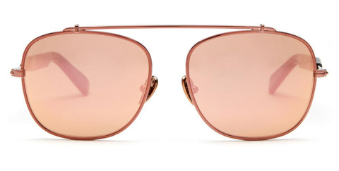 Westward Leaning - Malcolm No Middle 01 Polished Rose Gold Metal Sunglasses / Rose Gold Mirror Lenses