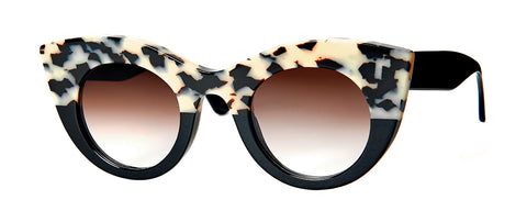 Thierry Lasry - Melancoly 47mm White Tortoise Shell Black Sunglasses / Brown Gradient Lenses