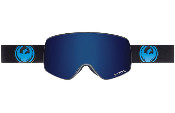 Dragon - NFX2 Jet / Dark Smoke Blue + Yellow Red Ion Goggles