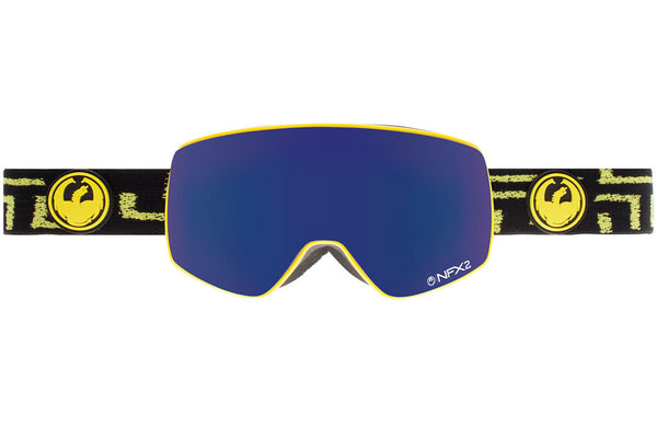 Dragon - NFX2 West / Dark Smoke Blue + Yellow Blue Ion Goggles