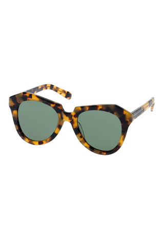 Karen Walker - Number One Crazy Tortoise Sunglasses / Gradient Green Lenses