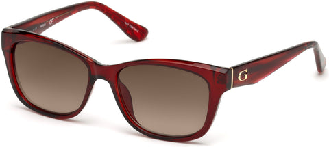 Guess - GU7538 Shiny Red Sunglasses / Gradient Brown Lenses