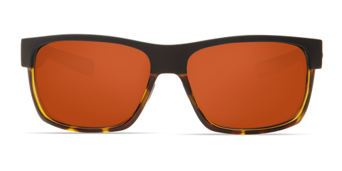 Costa - Half Moon Matte Black + Shiny Tortoise  Sunglasses / Copper Polarized Plastic Lenses