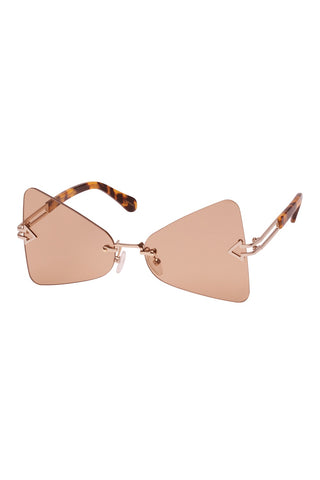 Karen Walker - Paradise Crazy Tortoise Gold Sunglasses / Nude Lenses