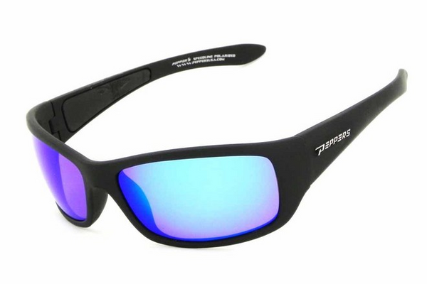 Peppers Cutthroat Matte Black Sunglasses, Ice Blue Mirror Lenses