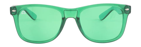 RainbowOPTX - Translucent Transparent Sunglasses / Green Lenses