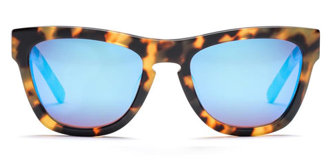 Westward Leaning - Pioneer 38 Polished Sand Tortoise Acetate Sunglasses / Neon Blue Mirror Lenses
