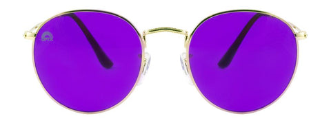 RainbowOPTX - Round Gold Metal Sunglasses / Violet Lenses