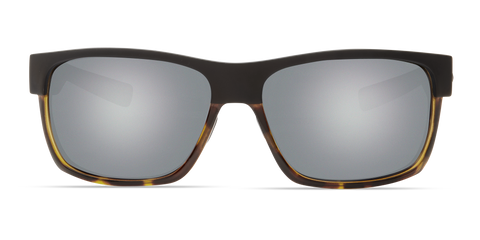 Costa - Half Moon Matte Black + Shiny Tortoise Sunglasses / Gray Silver Polarized Plastic Lenses