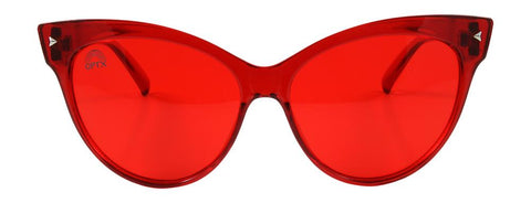 RainbowOPTX - Cat Eye Transparent Red Sunglasses / Red Lenses