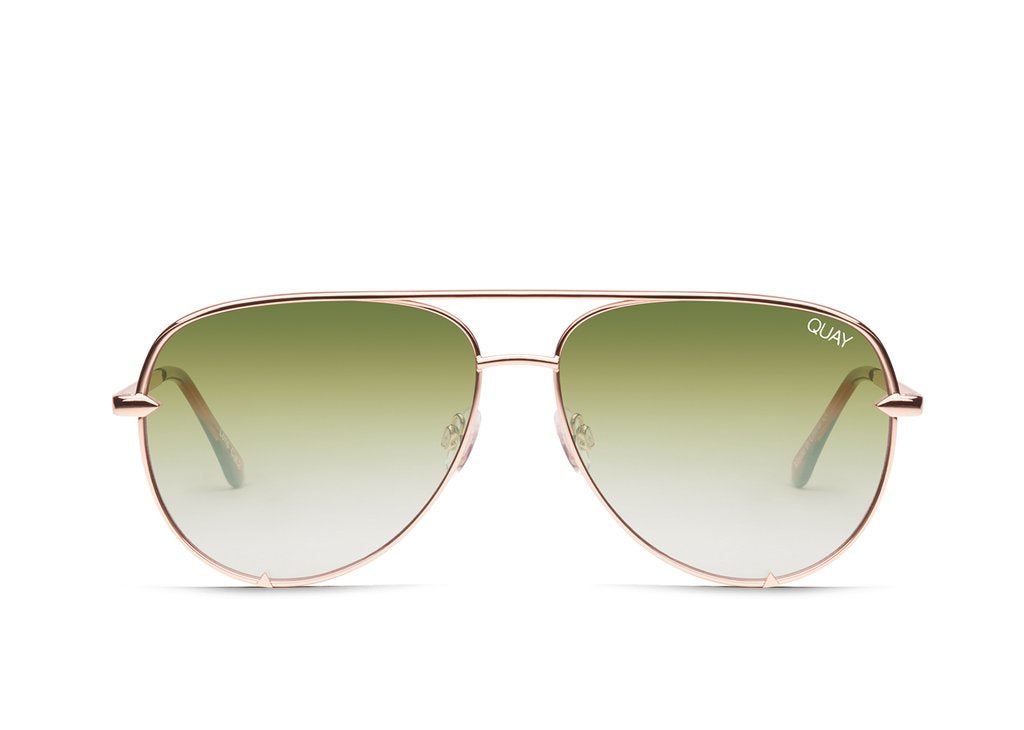 Quay Desi Perkins #QUAYXDESI High Key Mini Rose Sunglasses / Green Fade Lenses