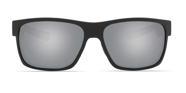 Costa - Half Moon Matte Black + Green Sunglasses / Gray Silver Polarized Plastic Lenses