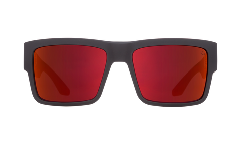 Spy - Cyrus Soft Matte Black Red Fade Sunglasses / Happy Gray Green Red Flash Lenses