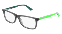 Puma - PJ0020O Junior Grey + Green Eyeglasses / Demo Lenses