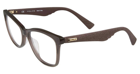Police - VPL414 52mm Transparent Brown + Rubberized Glittered Brown Eyeglasses / Demo Lenses