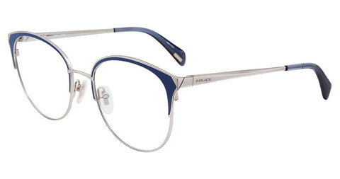 Police - VPL843 53mm Silver Blue Eyeglasses / Demo Lenses