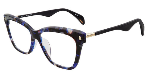 Police - VPL627 51mm Shiny Blue Havana Eyeglasses / Demo Lenses
