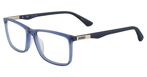 Police - VPL393 54mm Shiny Clear Blue Eyeglasses / Demo Lenses