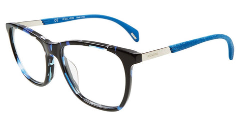 Police - VPL630 51mm Black Blue Havana Eyeglasses / Demo Lenses