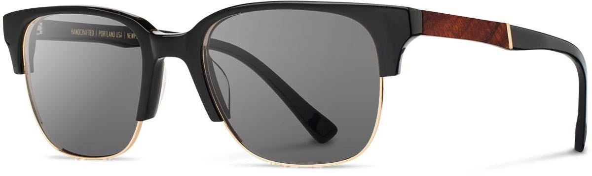 Shwood - Newport 52mm Acetate Black / Grey Sunglasses