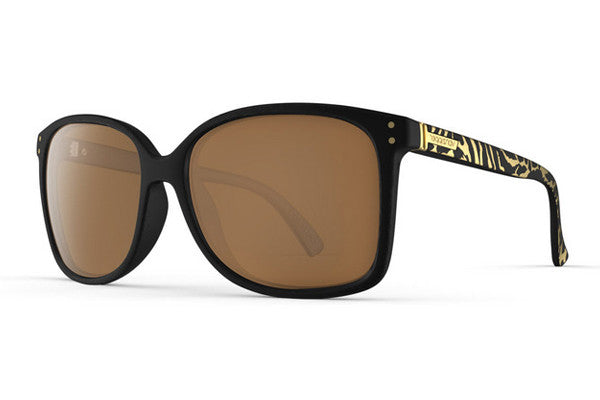 Von Zipper - Castaway Party Animals Black Gold PYG Sunglasses, Gold Glo Lenses