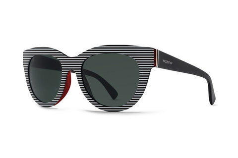 VonZipper Queenie White Stripes Red SWR Sunglasses, Grey Lenses