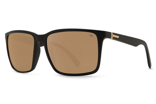 Von Zipper - Lesmore Black Satin BDP Sunglasses, Gold Glo Polarized Lenses