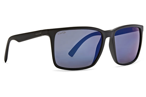 VonZipper - Lesmore Black Satin Sunglasses / Wildlife Blue Chrome Polarized Lenses
