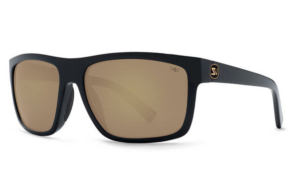Von Zipper - Speedtuck Black Satin BDP Sunglasses, Gold Glo Poly Polarized Lenses