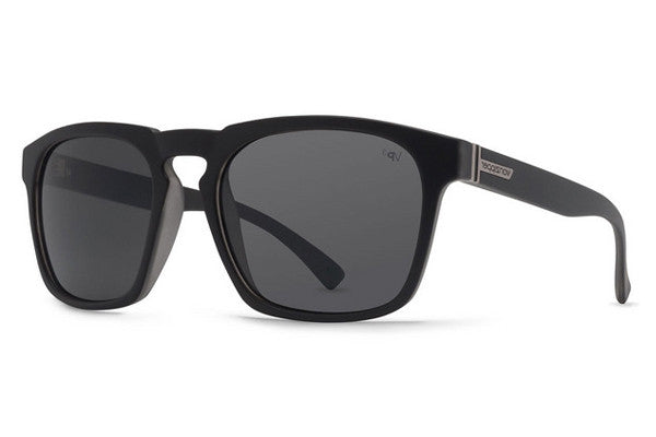 Von Zipper - Banner Black Smoke Satin BSP Sunglasses, Grey Poly Polarized Lenses