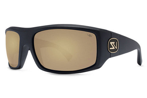Von Zipper - Clutch Black Satin BDP Sunglasses, Gold Glo Poly Polarized Lenses
