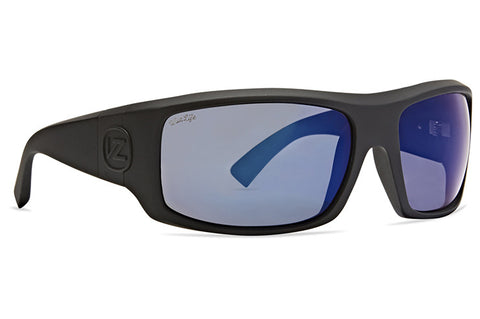 VonZipper - Clutch Black Satin Sunglasses / Wildlife Blue Chroma Polarized Lenses