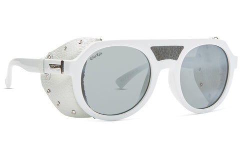 VonZipper - Psychwig White Gloss Glacier Sunglasses / Wildlife Vintage Grey Silver Lenses