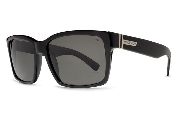 Von Zipper - Elmore Black Gloss BPP Sunglasses, Grey Poly Polarized Lenses