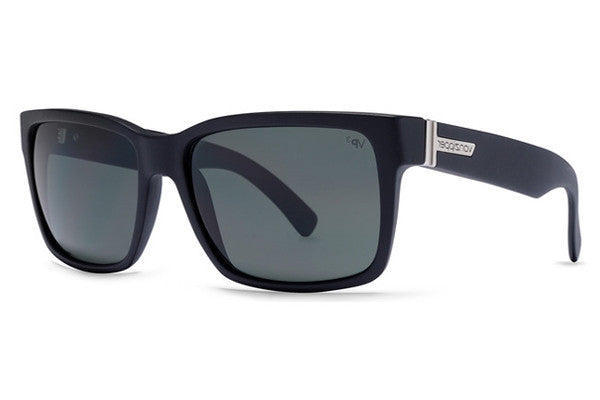 Von Zipper - Elmore Black Satin BSP Sunglasses, Grey Poly Polarized Lenses