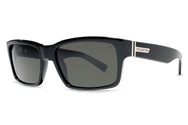 Von Zipper - Fulton Black Gloss BPP Sunglasses, Grey Poly Polarized Lenses