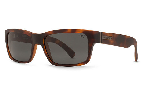 Von Zipper - Fulton Demi Tortoise Satin TSP Sunglasses, Grey Poly Polarized Lenses