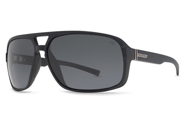 Von Zipper - Decco Black Satin BSP Sunglasses, Grey Poly Polarized Lenses