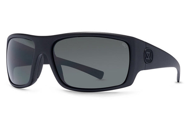 VonZipper - Suplex Black Satin ASP Sunglasses, Full Frontal Grey Poly Polarized Lenses