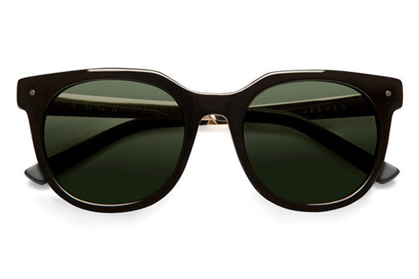 Von Zipper - Jeeves Black Gold BGN Sunglasses, Vintage Grey Lenses
